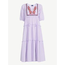 Scoop Women's Embroidered Peasant Dress with Puff Sleeves | Walmart (US)