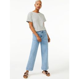 Free Assembly Women's Short Sleeve Crop Box T-Shirt | Walmart (US)