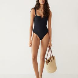 Cut-out textured swimsuit | MANGO (US)