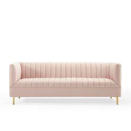 "Rosalia 77"" Velvet Tuxedo Arm Sofa | Wayfair North America"