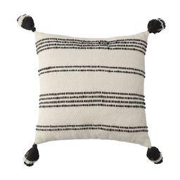 "Better Homes & Gardens 21"" x 21"", Woven Stipe Outdoor Toss Pillow, Black & White | Walmart (US)"