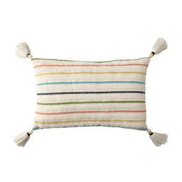 "Better Homes & Gardens 13"" x 19"" Lumbar, Multi Stripe Outdoor Toss Pillow, Multi-color, Single | Walmart (US)"