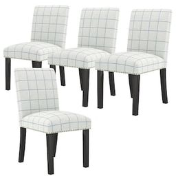 Handy Living Schmitz Upholstered Dining Chairs in Woven Denim Blue Check Fabric (Set of 4)-A17760... | The Home Depot