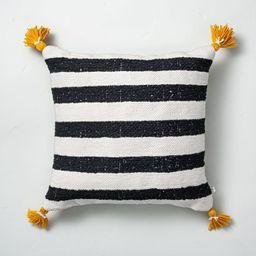 "18"" x 18"" Cabana Stripes Indoor/Outdoor Throw Pillow Black/Yellow - Hearth & Hand™ with Magnoli...   Target"