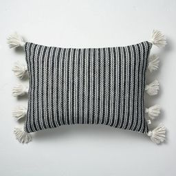 """14"""" x 20"""" Woven Stripes Indoor/Outdoor Throw Pillow Black/Sour Cream - Hearth & Hand™ with Magn...   Target"""