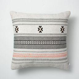 "18"" x 18"" Decorative Ticking Stripe Indoor/Outdoor Throw Pillow Black/Pink - Hearth & Hand™ wit...   Target"