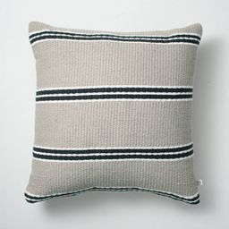 """18"""" x 18"""" Double Stripe Indoor/Outdoor Throw Pillow Black/Gray - Hearth & Hand™ with Magnolia   Target"""