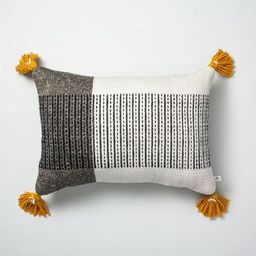 """14"""" x 20"""" Center Stripes Colorblock Indoor/Outdoor Throw Pillow Black/Yellow - Hearth & Hand™ w...   Target"""