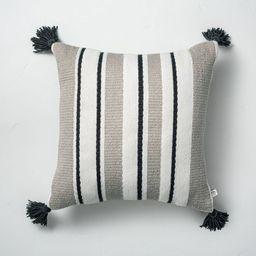"18"" x 18"" Multistripe Indoor/Outdoor Throw Pillow Black/Gray/Cream - Hearth & Hand™ with Magnol...   Target"