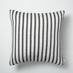 """18"""" x 18"""" Vertical Stripes Indoor/Outdoor Throw Pillow Black/Sour Cream - Hearth & Hand™ with M...   Target"""