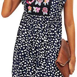 KIRUNDO Women's Summer Leopard Mini Dress V Neck Bohemia Dress Sleeveless Flowy Loose Badydoll ...   Amazon (US)