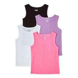 Garanimals Baby & Toddler Girls Solid Tank Tops, 4-Pack, Sizes 12M-5T | Walmart (US)