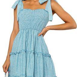 Romanstii Women's Mini Dress Strappy Backless Pleated Flare Ruffle Polka Dot Casual Beach Dresses   Amazon (US)