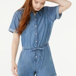Free Assembly Women's Short Sleeve Drawstring Romper | Walmart (US)