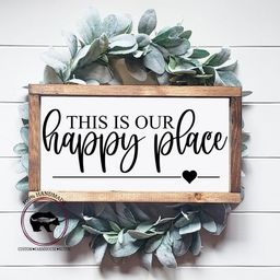 This Is Our Happy Place Wood Sign, Family Wood Sign, Living Room Wall Decor, Happy Place Sign, En... | Etsy (US)