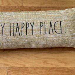 "Rae Dunn Outdoor Pillow "" MY HAPPY PLACE "" - Outdoor Lumbar Pillow - New | eBay US"