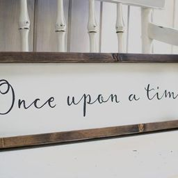 once upon a time - hand-lettered framed wooden sign | Etsy (US)