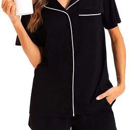 MEOMUA Women's Bamboo Pajama Sets Short Sleeve Sleepwear Button Down Pj Lounge Set   Amazon (US)