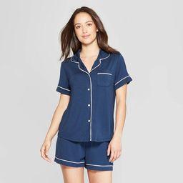 Women's Beautifully Soft Short Sleeve Notch Collar Top and Shorts Pajama Set - Stars Above™   Target