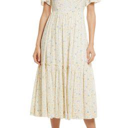 Folkmagic Floral Flutter Sleeve Tiered Maxi Dress | Nordstrom