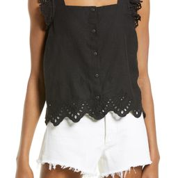 Eyelet Ruffle Strap Button-Up Tank Top | Nordstrom