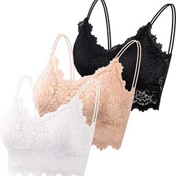 PAXCOO 3 Pcs Lace Bralette for Women, Lace Bralette Padded Lace Bandeau Bra with Straps for Women... | Amazon (US)