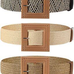 3 Pieces Straw Woven Elastic Stretch Waist Belt Skinny Dress Braided Waist Belt Wood Color Buckle... | Amazon (US)
