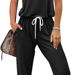 LILLUSORY Women's Casual Jumpsuits Short Sleeve Off Shoulder Loose Soild Elastic Drawstring Waist... | Amazon (US)