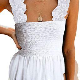 CILKOO Women's Frill Smocked Crop Tank Top Tie Shoulder Strap Vest(S-XXL)   Amazon (US)
