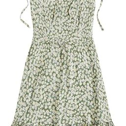 SheIn Women's Summer Sleeveless Floral Ruffle Strappy Beach Swing Dress   Amazon (US)