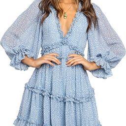 Dokotoo Womens Spring Summer Deep V Neck Ruffle Long Sleeve Floral Print Mini Dress   Amazon (US)
