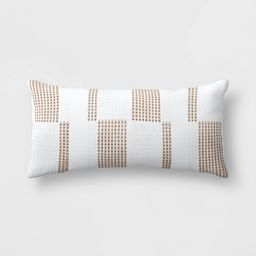 Oversize Woven Outdoor Lumbar Beige/White - Threshold™ designed with Studio McGee   Target