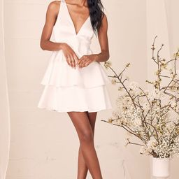 Tiers of Joy White Satin Tie-Back Tiered Mini Dress   Lulus (US)
