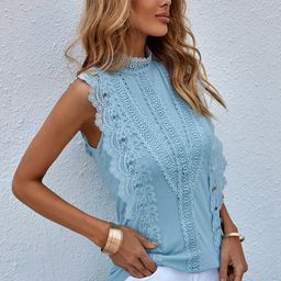 Contrast Lace Keyhole Back Tank Top | SHEIN