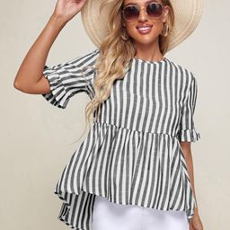 SHEIN Bell Sleeve High Low Hem Striped Top | SHEIN