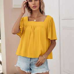 Square Neck Solid Blouse | SHEIN