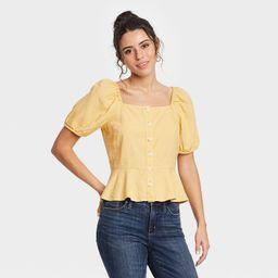 Women's Puff Short Sleeve Peplum Blouse - Universal Thread™ | Target