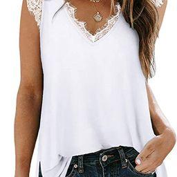 XIEERDUO Women's V Neck Lace Tank Tops Summer Casual Sleeveless Shirts Side Split | Amazon (US)