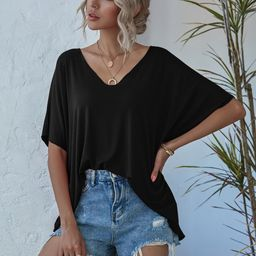 V-neck Batwing Sleeve Slouchy Tee | SHEIN