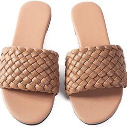 Women Flat Sandals Metal Woven Leather Comfort Walking Thong Ladies Flip Flops Sandals | Amazon (US)