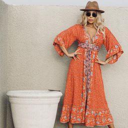 Bohemian Spell Style Kimono Sleeve Maxi Thanksgiving Dress Boho Festival Clothing Coachella Outfi... | Etsy (US)