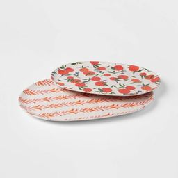 2pc Bamboo Melamine  Floral Serving Platter - Opalhouse™ | Target