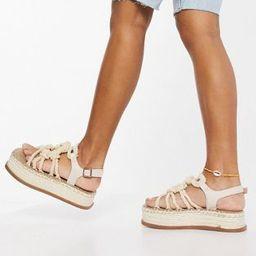 ASOS DESIGN Wide Fit Tape rope detail flatform sandals in natural | ASOS (Global)