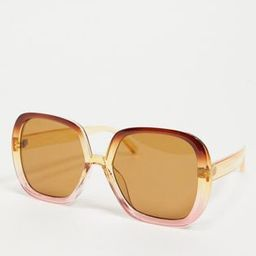 ASOS DESIGN recycled frame oversized 70s square sunglasses in crystal brown to pink fade | ASOS (Global)