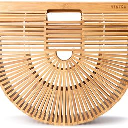 Vintga Bamboo Bags for Women Summer Straw Bags Wooden Beach Purses Basket Handle Handbags | Amazon (US)