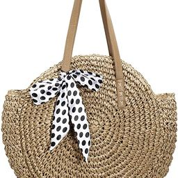 Beach Straw Bag Round Woven Zippered Shoulder Bag Large Circle Tote Crossbody Bags for Women Vaca... | Amazon (US)