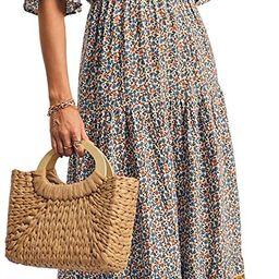 KIRUNDO 2021 Women's Summer Short Sleeves Maxi Bohemia Dress Sexy V Neck Floral High Waist Flow...   Amazon (US)
