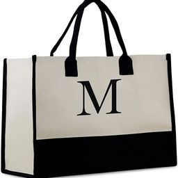 Personalized Monogram Initial 100% Cotton Chic Tote Bag with Customize Option - Black | Amazon (US)