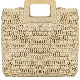 Womens Straw Tote Bag Handbags Beach Bag Exquisite Woven Fashion Large Rectangle Top Handle Bag S... | Amazon (US)