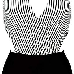 COCOSHIP Women's Surplice Neckline One Piece Bather Halter Swimsuit High Waist Cross Swimwear(FBA... | Amazon (US)